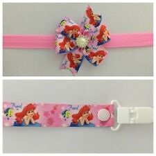 girls baby headband dummy clip hair bow arial little mermaid pacifier party