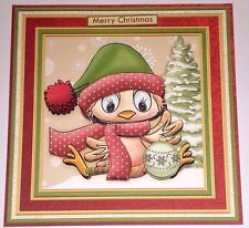 Handmade Greeting Card 3D Christmas With A Bird In A Santa Hat