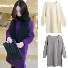 Women Long Sleeve Pullover Loose Knitwear Jumper Top Solid Knitted Sweater K6C8