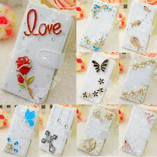 DIY Cover Bling Crystal Diamond Rhinestone Flip Leather Wallet Cover Case For LG