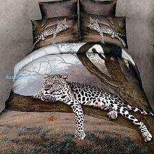 3D Bedding Quilt Doona Duvet Cover Bed Sheet Pillowcase Set ------ Brown Leopard