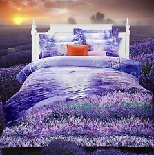 3D Bedding Quilt Doona Duvet Cover Bed Sheet Pillowcase Set - Purple Floral Bty-
