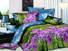 3D Bedding Quilt Doona Duvet Cover Bed Sheet Pillowcase Set - Flowers Purple New
