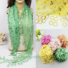 Fashion Womens Stitching Triangle Scarf Shawl Wrap Lace Squares Leaf Trim Tassel