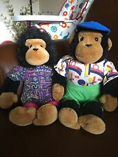 PG Tips Monkeys Soft Plush Toys Samantha & Kevin Tipps 1980s Collectable