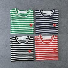 New Men's Comme Des Garcons CDG Play Striped Red Heart Short Sleeve T-shirts