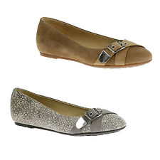 Hush Puppies DALLAS HAILEY Womens Grey OR Tan Casual Comfort Ballet Flats Shoes