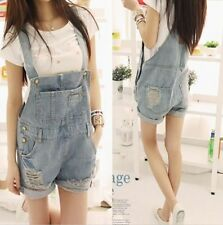 Women Washed Jeans Jumpsuit Denim Casual Hole Girls Romper Overalls Jeans Shorts