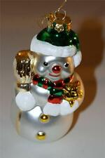 Glass Blown Snowman holding teddy bear Christmas Ornament