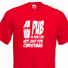 Pub For Life Christmas Funny Mens T-Shirt , 3 Colour 8 Sizes. Xmas Party, Gift