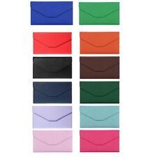 Fashion Solid Color Snap Fastener Cell Phone Envelope Clutch Wallet SCA