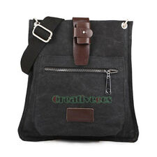 Men's Canvas Leather Vintage Cross body Messenger Shoulder Casual Bag Studded