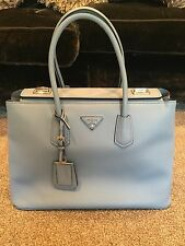 PRADA Saffiano Blue Leather Tote With Cards Dustbag And Receipt Genuine Large