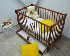 BABY Cot Bed Wood White Walnut Mattress Drawer Convertable to Junior Toddler