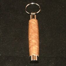 Yellow Box Burl Pill or Toothpick Keychain in Chrome or 10k Gold Plating