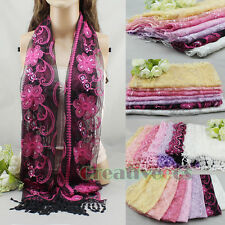 Sequins Lace Shawl Ethnic Floral Pattern Embroidery Oblong Scarf Cover-up Tassel