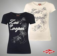 Ladies Designer Lee Cooper Casual Stylish Graphic Glitter T Shirt Top Size 8-18