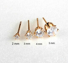 Men Kids Trainer 18K Gold Plated 2 3 4 5mm CZ Cubic Zirconia Tiny Studs Earrings