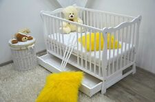 BABY Cot Bed Wood White Walnut Mattress Drawer Converts to Junior Toddler !