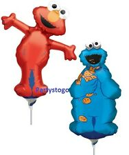 5 SESAME STREET BIRTHDAY PARTY BALLOONS MINI SHAPES FAVORS COOKIE MONSTER ELMO