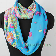 Ethnic Pattern Print Soft Chiffon Infinity Loop Cowl Eternity Circle Scarf