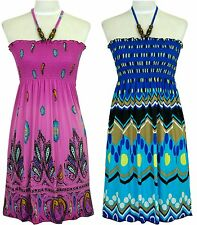 Jon & Anna Smocked SunDress Beaded Halter Strap Dress -Pink Paisley & Blue Aztec