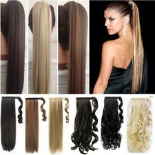 100% Real as human hair 1Pcs Wrap Around Ponytail Clip In Hair Extensions Fnk