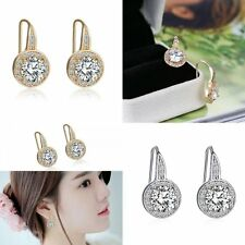 New Cubic Zirconia Gold/Silver Women's Hoop Drop Dangle Earrings Wedding Jewelry