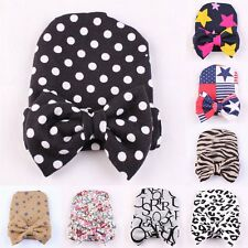 Baby Girls Toddler Stripe Hospital Cap Infant Comfy Bowknot Beanie Hat Newborn
