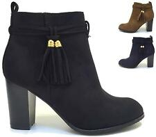 WOMENS TASSEL ZIP CHELSEA BLOCK HEEL LADIES FAUX SUEDE ANKLE BOOTS SHOES SIZES