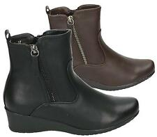 LADIES WOMENS HIGH WEDGE HEEL BIKER CHELSEA ZIP COMFORT ANKLE BOOTS SHOES SIZE