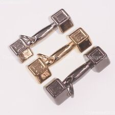 Solid Metal Dumbbell Pendant Necklace Connector Charm Beads Silver Gold Chain