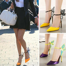 Butterfly Women's Ladies High Heel Pointy Toe Ankle Strap Sandals Shoes SAU