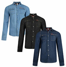 Lee Cooper Slim Fit Denim Shirt New Western Classic Blue Black Wash Jean Shirts