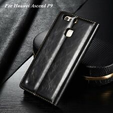 For Huawei Ascend P9 Retro Stand Leather Wallet Card Holder Flip Case Cover Skin