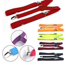 Mens Womens Elastic Clip-on Solid Color Y-Shape Adjustable Braces Suspenders new