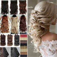 US One Pcs Full Head Clip in Thick Human Hair Extensions Wavy Straight Thick T5A