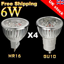 10 x GU10 / MR16 LED LAMPs 6W HIGH POWER SPOTLIGHT DAY / WARM WHITE LIGHT BULBS