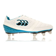 Canterbury Phoenix Club 8 Mens White Blue Studs Rugby Boots Sports Shoes