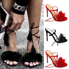 Ladies Womens Lace Up High Heel Sandals Tassel Fringe Tie Up Party Strappy SAU