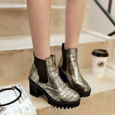 Punk Women Chunky Heel Round Toe Ankle Boots Shoes Platform Casual Shoes Size