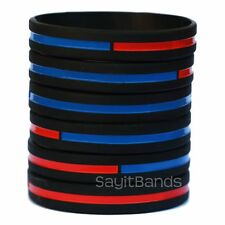 Set of Combination Thin Red and Thin Blue Line Wristbands Wristbands in Lot