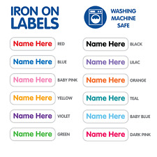 Personalised Mini Iron On Name Label Tags For Baby Clothing, Socks & Hats