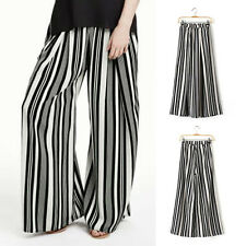 Womens Loose Wide Leg Black+White Strips Crop Culottes Trousers Pants Casual New
