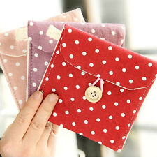 Women Girl Sanitary Napkin Towel Pads Polka Dot Small Bag Purse Holder Organizer