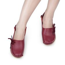 Women Casual Leather Slip on Loafers Moccasin Flats Boat Oxfords Shoes SAU