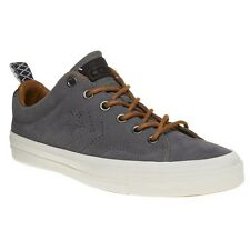New Mens Converse Grey Star Player Premium Suede Ox Trainers Plimsolls Lace Up