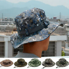 Mens Camo Military Boonie Cap Sun Fishing Hiking Touring Bucket Army Hat New