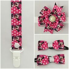 minnie mouse dummy clip pacifier chain binky girls headband bow clip hair pink