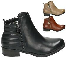 WOMENS LADIES LOW HEEL TWIN ZIP PIXIE WINTER CHELSEA RIDING ANKLE BOOTS SIZE